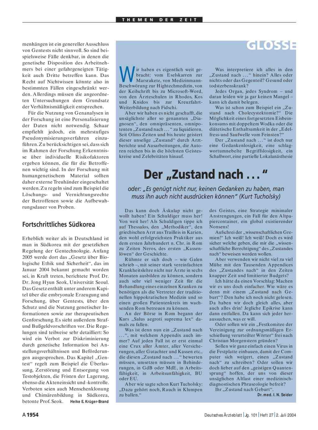 Deutsches ärzteblatt sie sucht ihn
