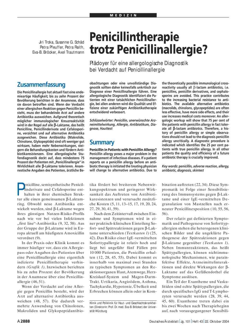 penicillinallergie symptome