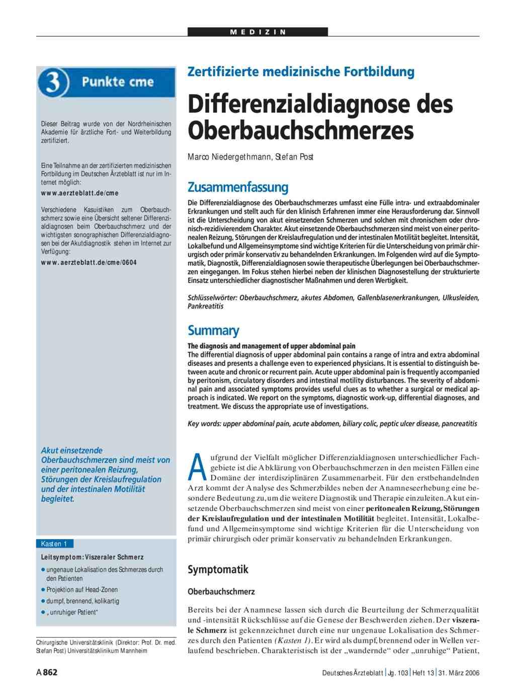 Zertifizierte Medizinische Fortbildung Differenzialdiagnose