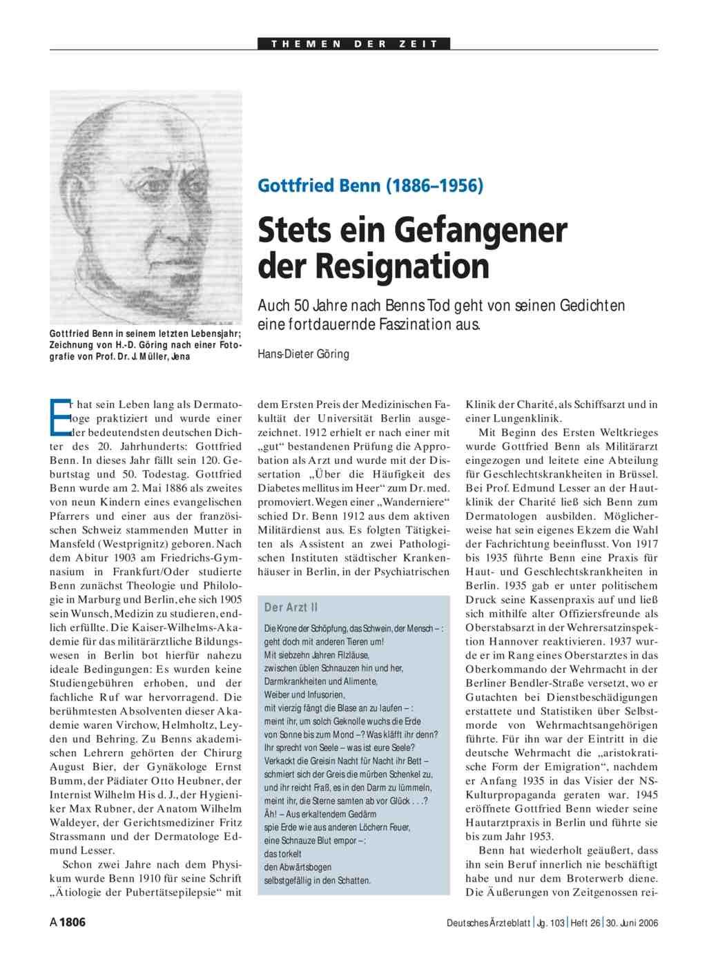 Gottfried Benn 18861956 Stets Ein Gefangener Der Resignation
