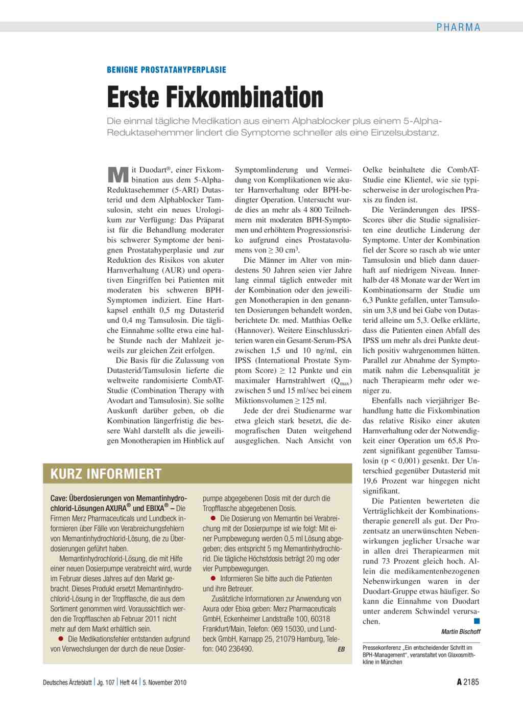 Benigne Prostatahyperplasie Erste Fixkombination