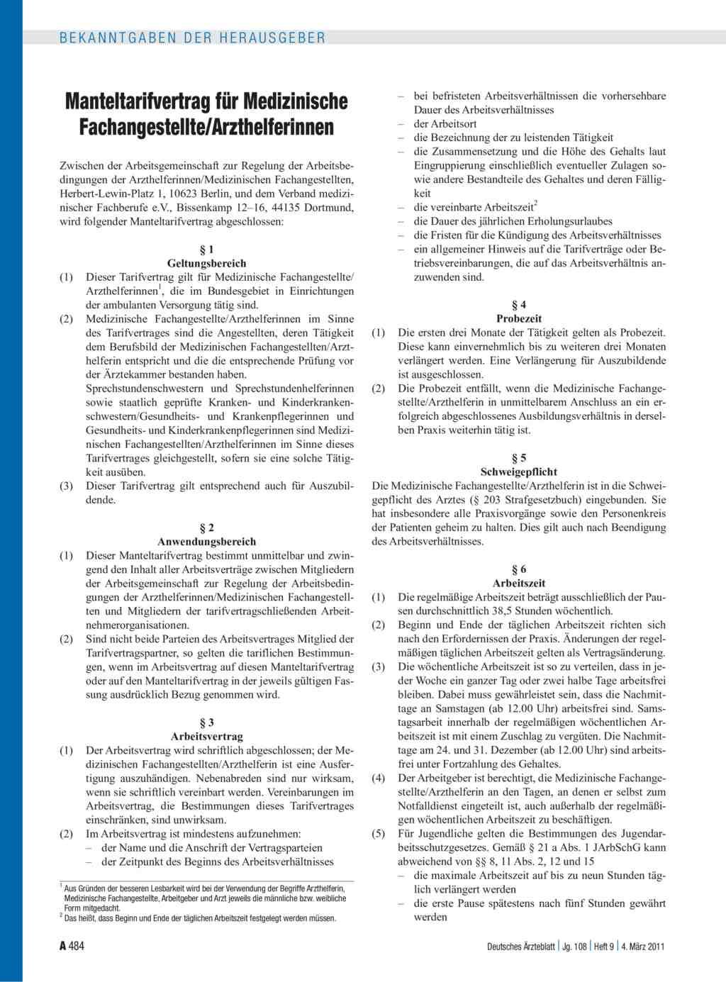 Manteltarifvertrag Für Medizinische Fachangestellte
