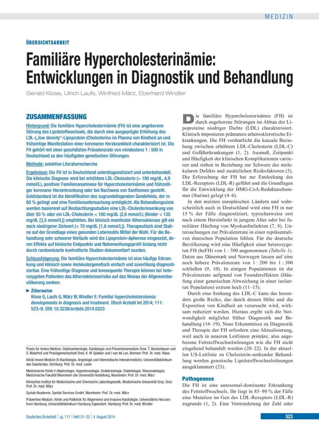 Diät gegen Hypercholesterinämie pdf