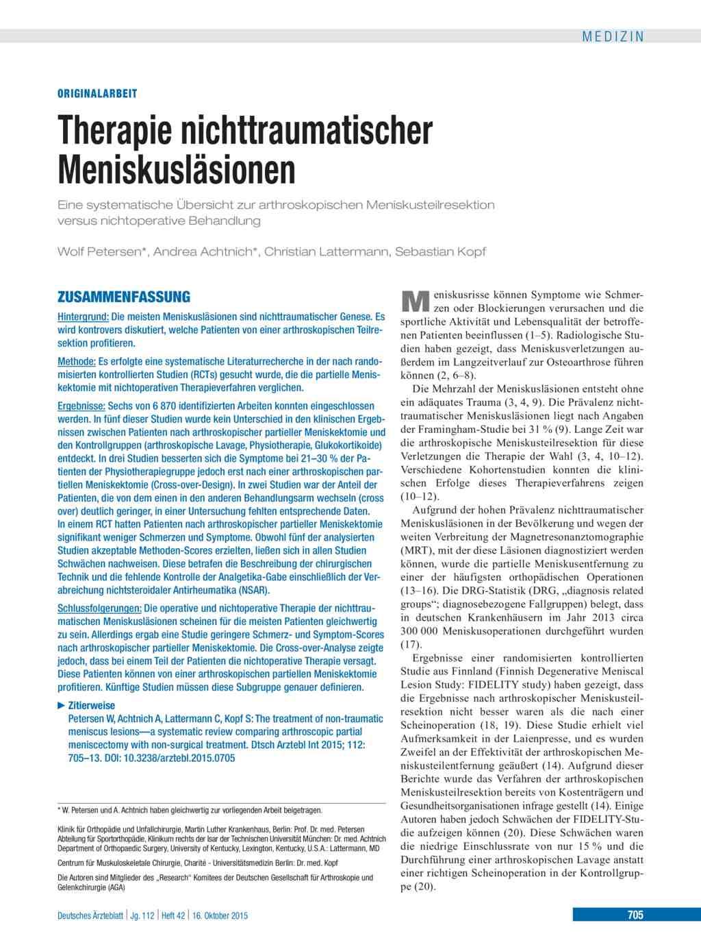 Meniskusresektion – Meniskus(teil)entfernung