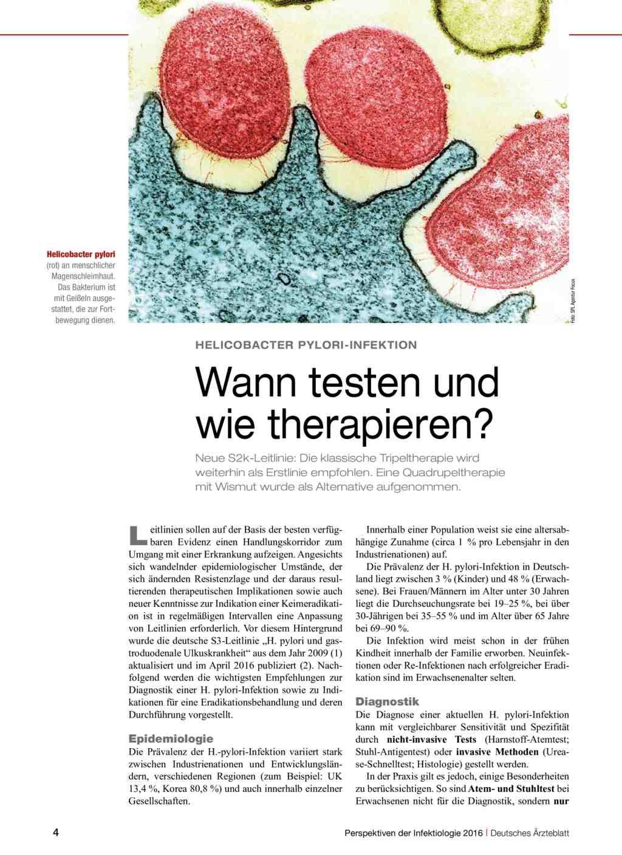 Helicobacter Pylori Infektion Wann Testen Und Wie Therapieren