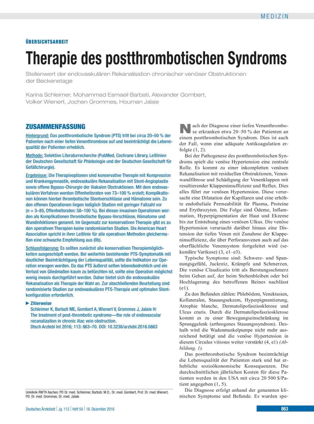 Therapie Des Postthrombotischen Syndroms