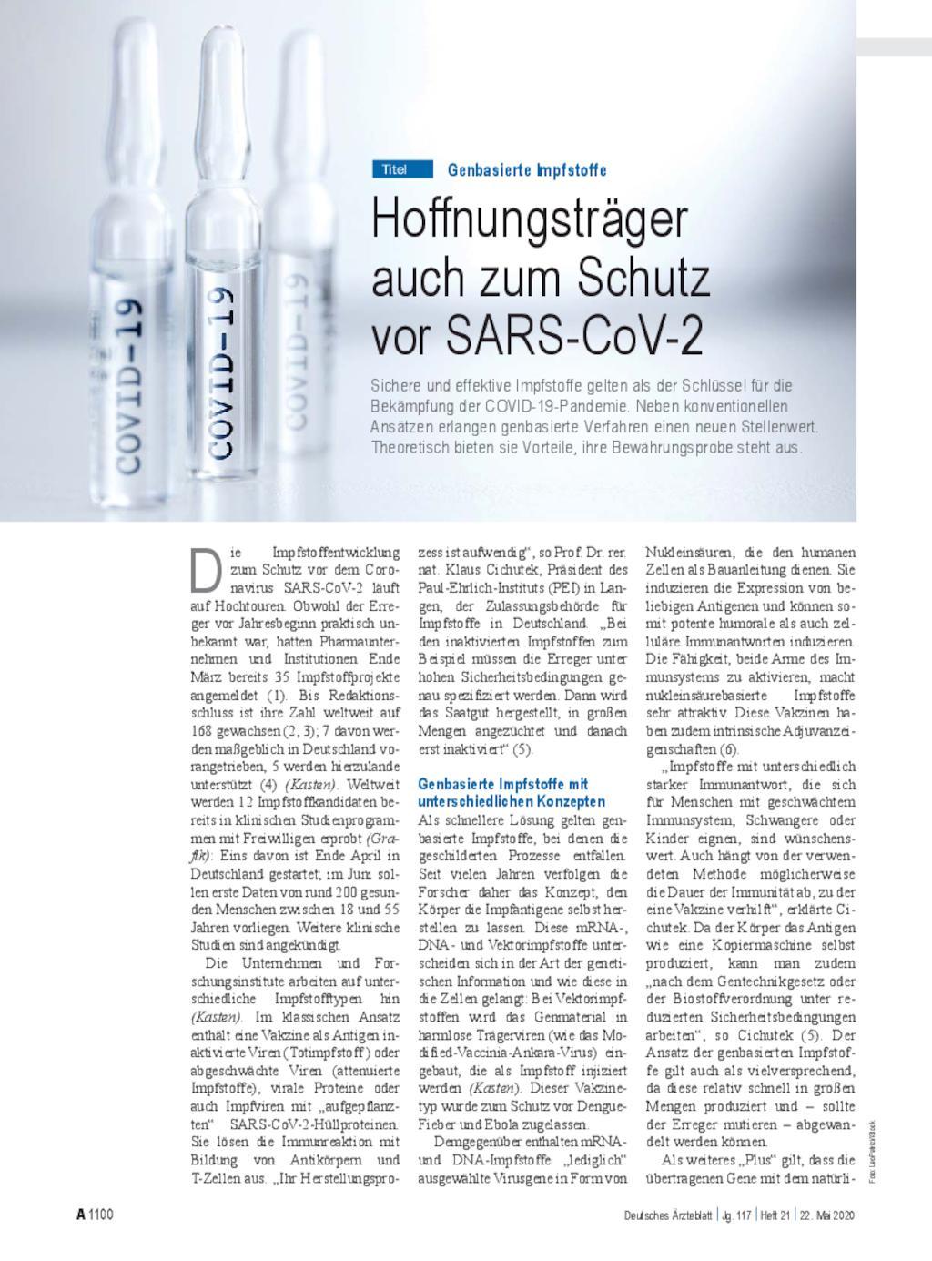 Genbasierte Impfstoffe Hoffnungstrager Auch Zum Schutz Vor Sars Cov 2