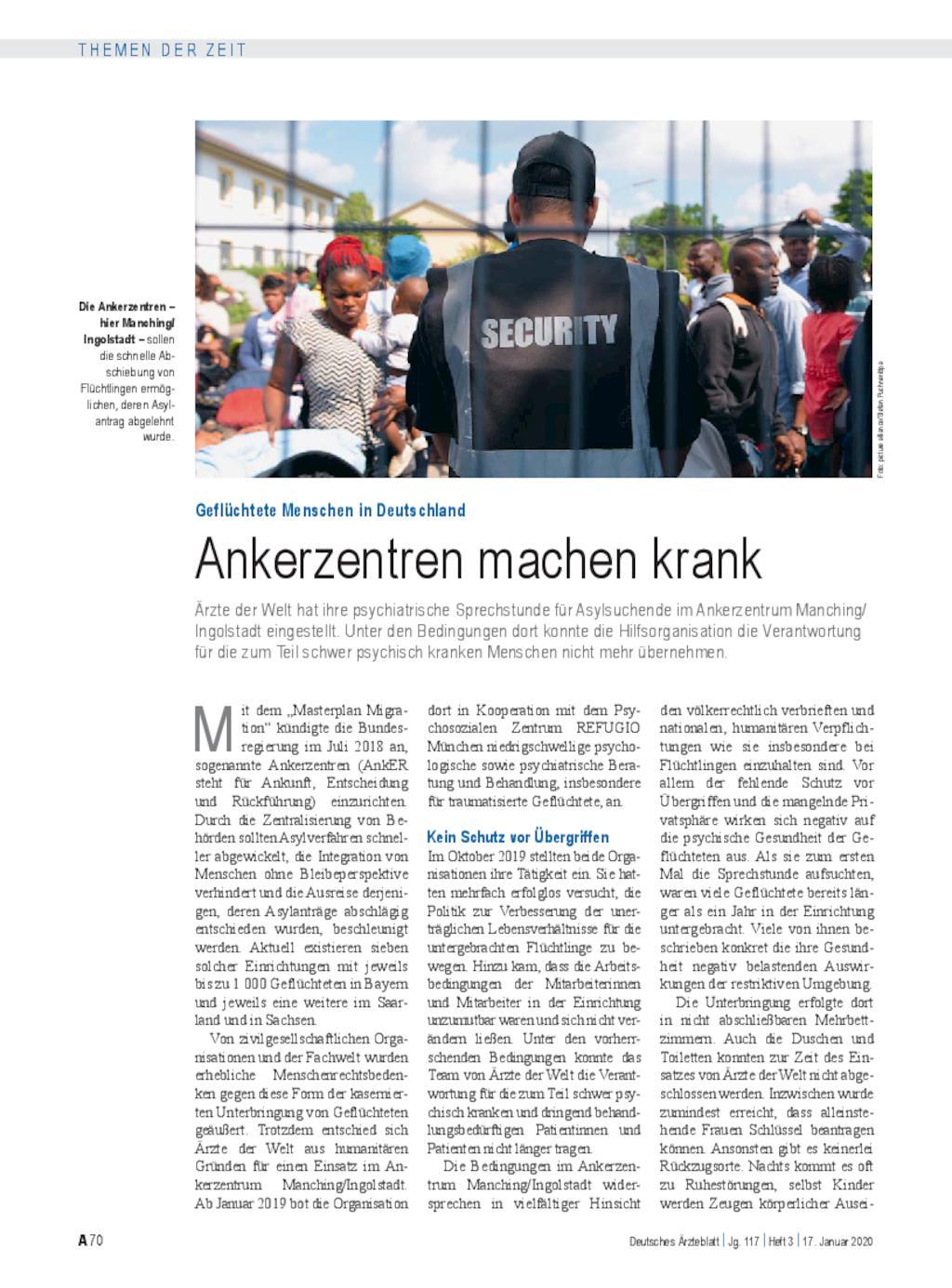 Geflüchtete Menschen in Deutschland: Ankerzentren machen krank