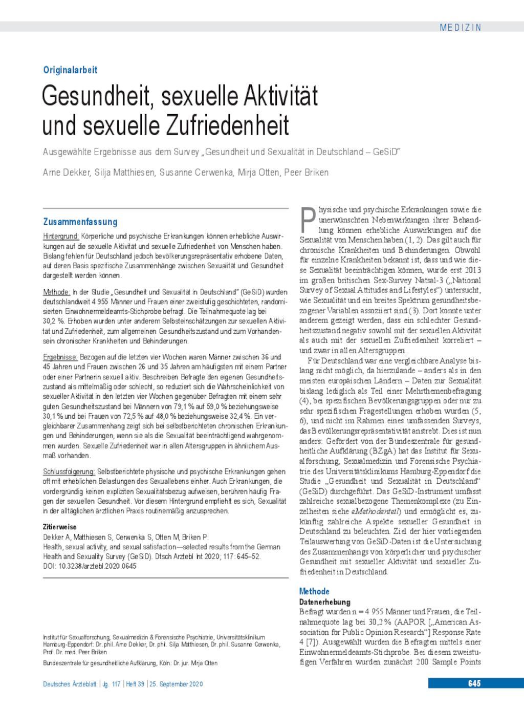 Gesundheit, sexuelle Aktivität und sexuelle Zufriedenheit