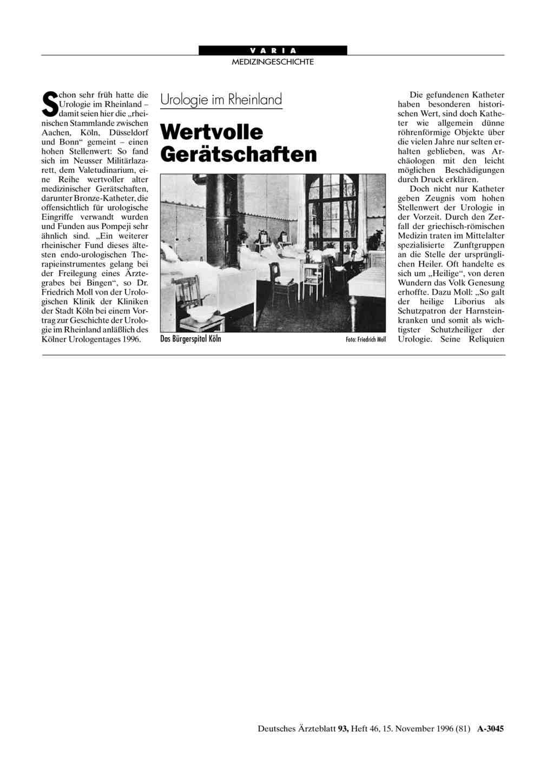 Urologie im Rheinland: Wertvolle Gerätschaften