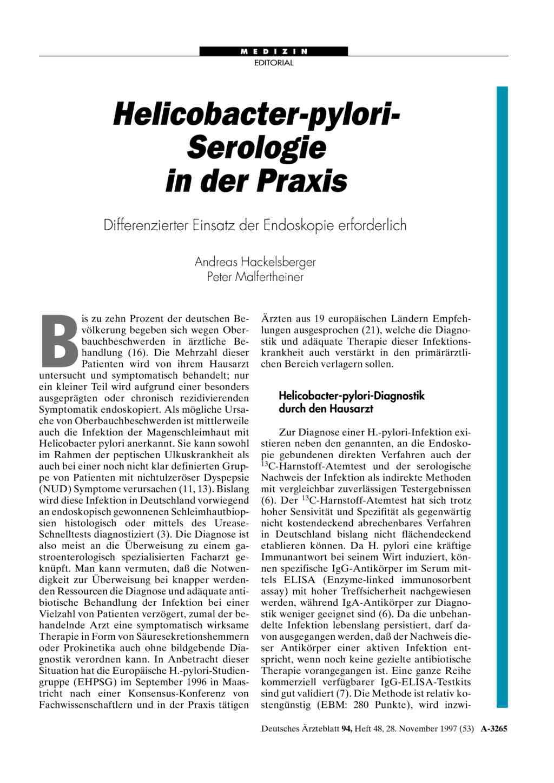 Helicobacter Pylori Serologie In Der Praxis