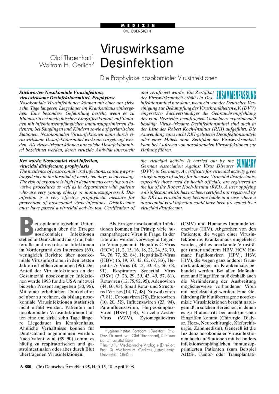 Wirkstoffe Von Desinfektionsmitteln
