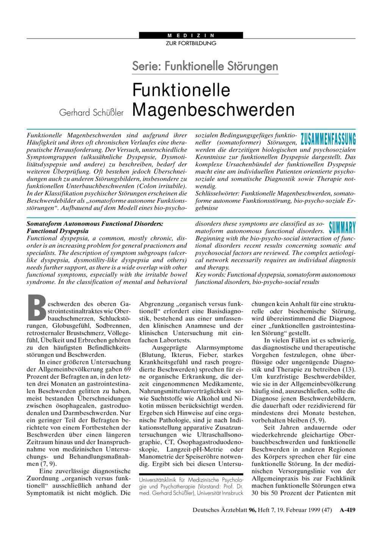 Funktionelle Störungen / Functional Disturbances