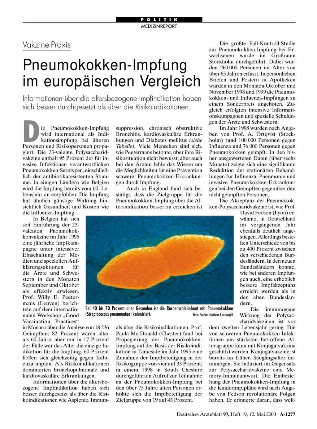Vakzine Praxis Pneumokokken Impfung Im Europaischen Vergleich