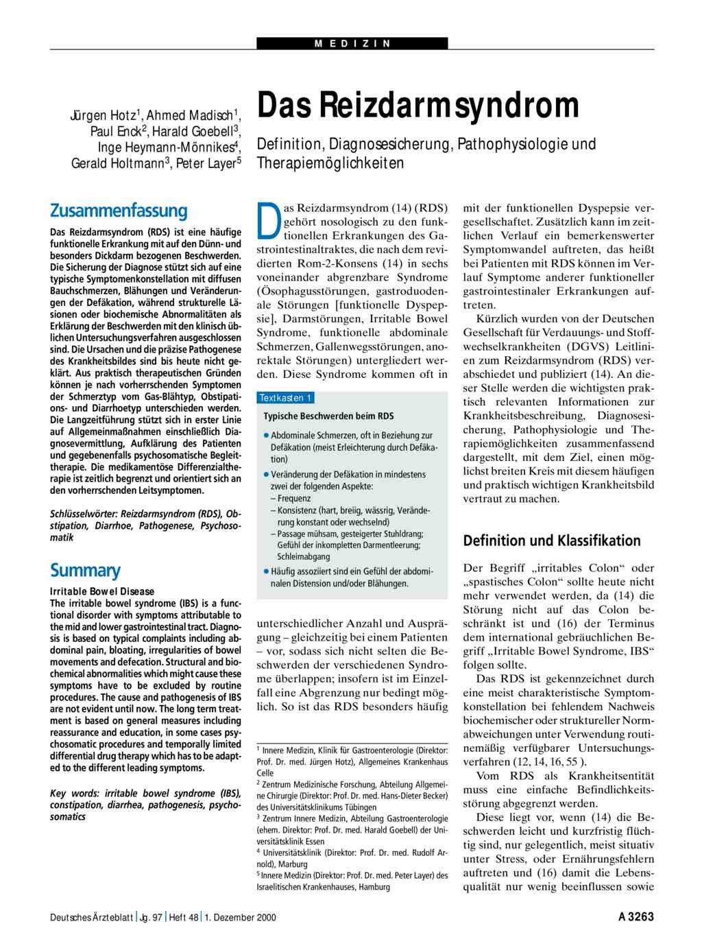 Das Reizdarmsyndrom Definition Diagnosesicherung Pathophysiologie
