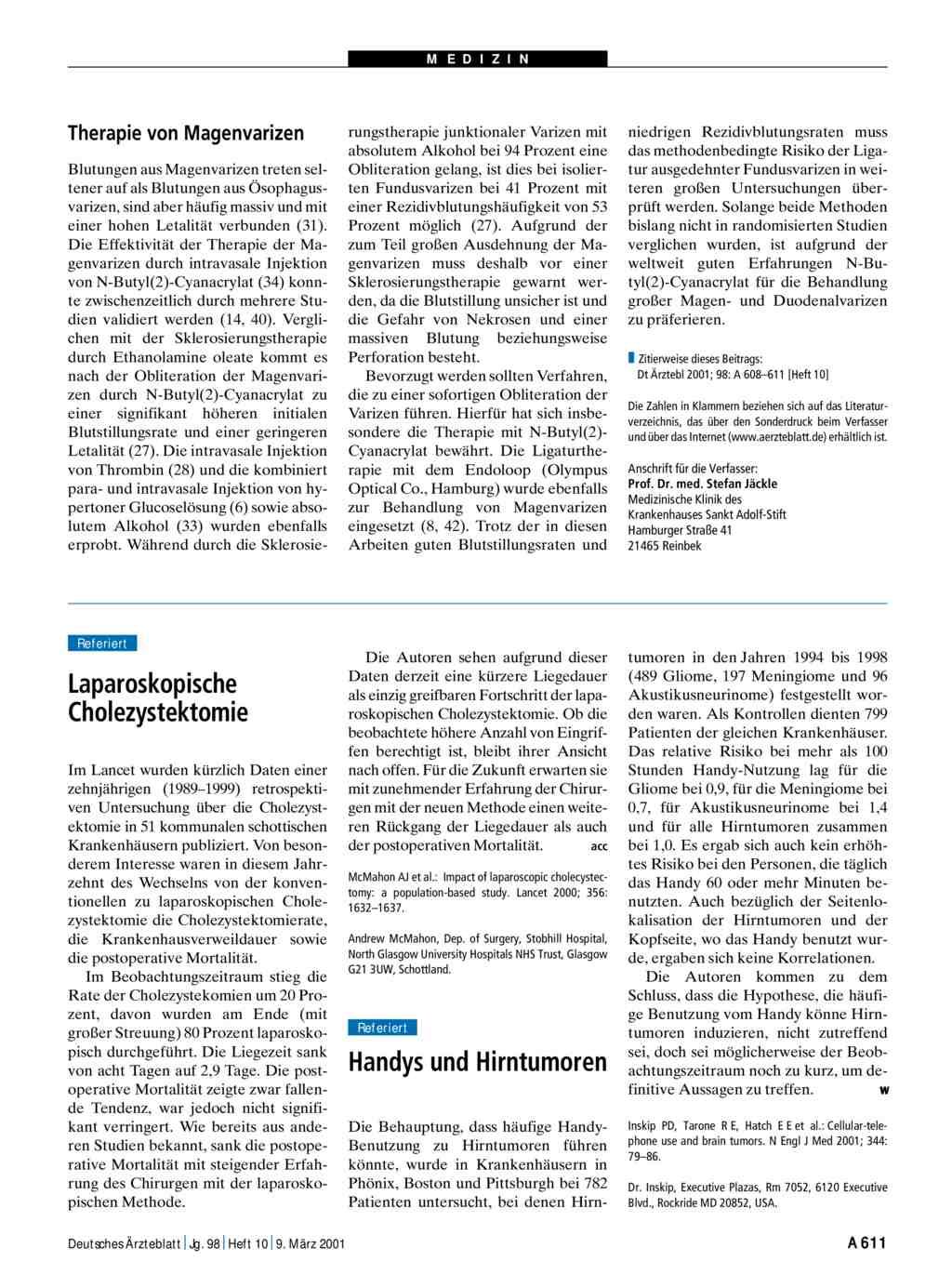 Laparoskopische Cholezystektomie postoperative Ernährung