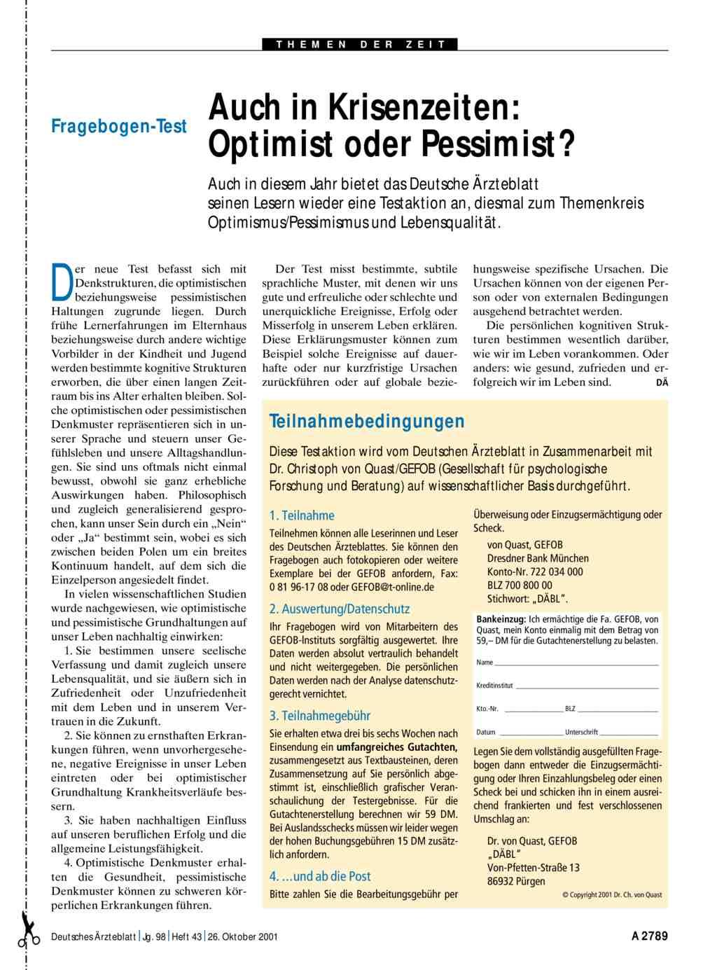 Was ist optimistisch und pessimistisch
