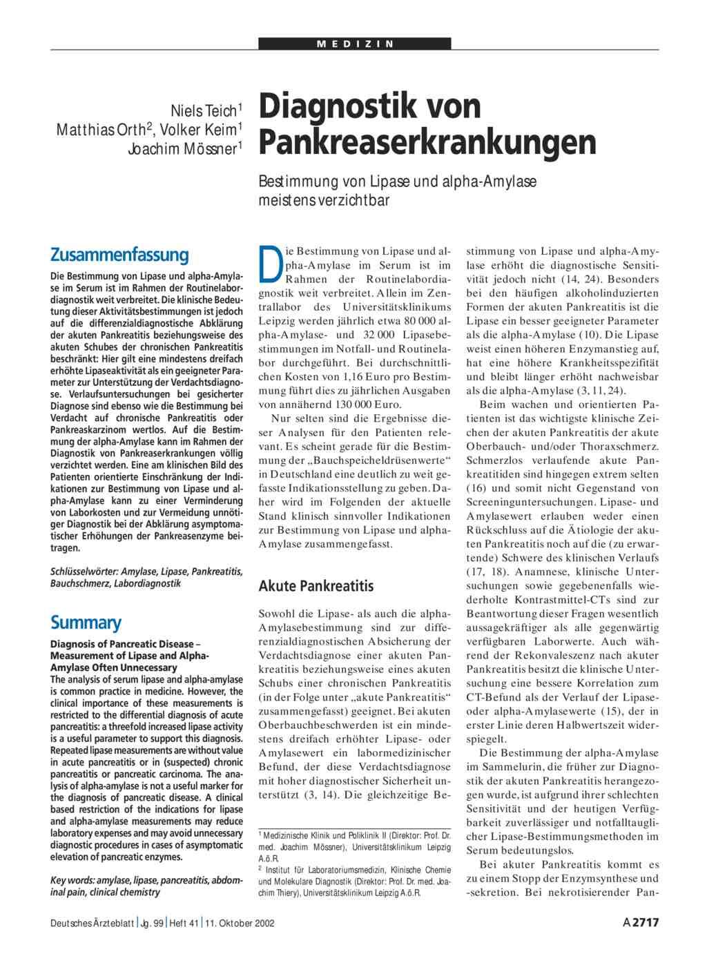 Diagnostik Von Pankreaserkrankungen Bestimmung Von Lipase Und Alpha