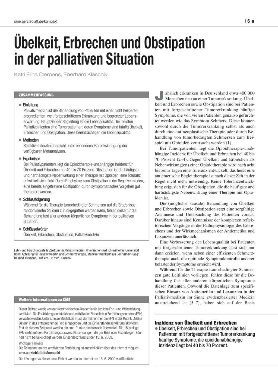 Ubelkeit Erbrechen Und Obstipation In Der Palliativen Situation