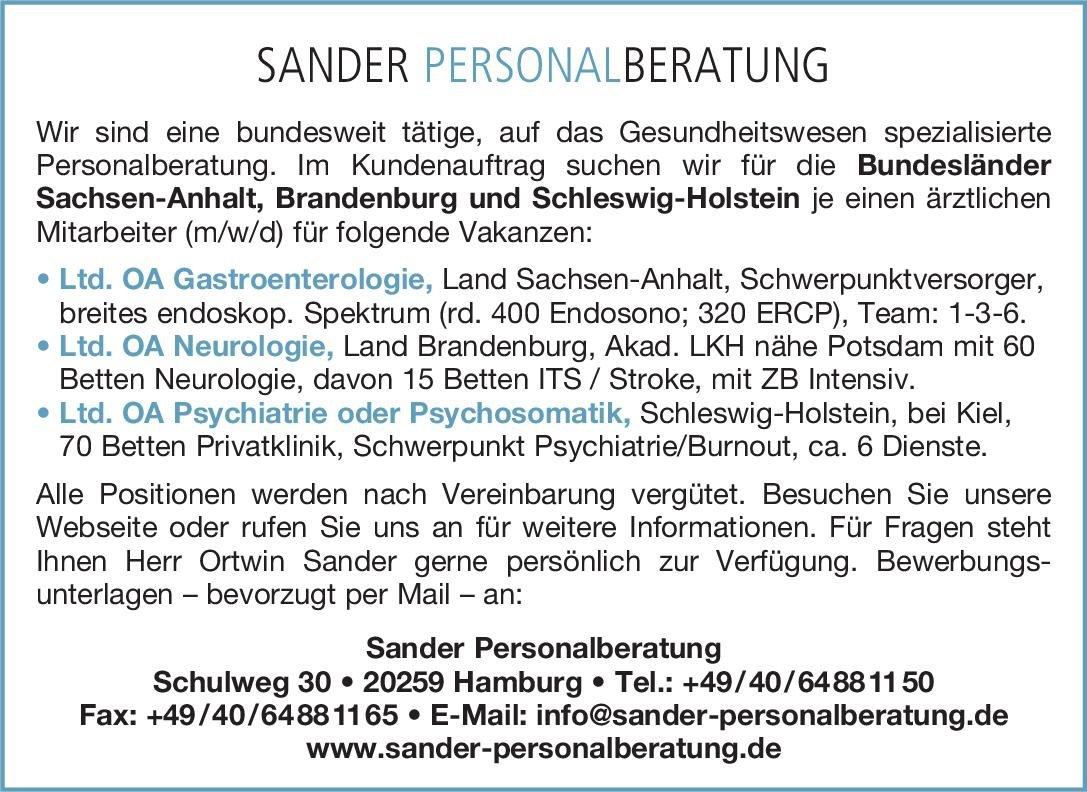 Sander Personalberatung Ltd. OA Neurologie Neurologie Oberarzt