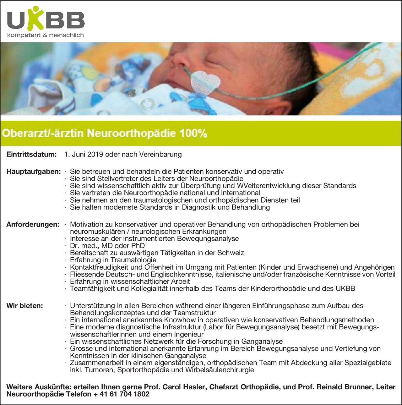 UKBB - Universitäts-Kinderspital Oberarzt/-ärztin Neuroorthopädie 100%  Orthopädie und Unfallchirurgie, Chirurgie, Neurologie Oberarzt