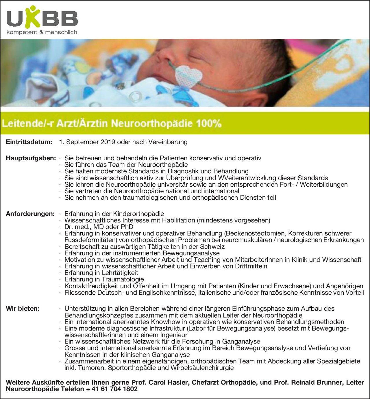 UKBB - Universitäts-Kinderspital Leitende/-r Arzt/Ärztin Neuroorthopädie 100%  Orthopädie und Unfallchirurgie, Chirurgie, Neurologie Ärztl. Leiter