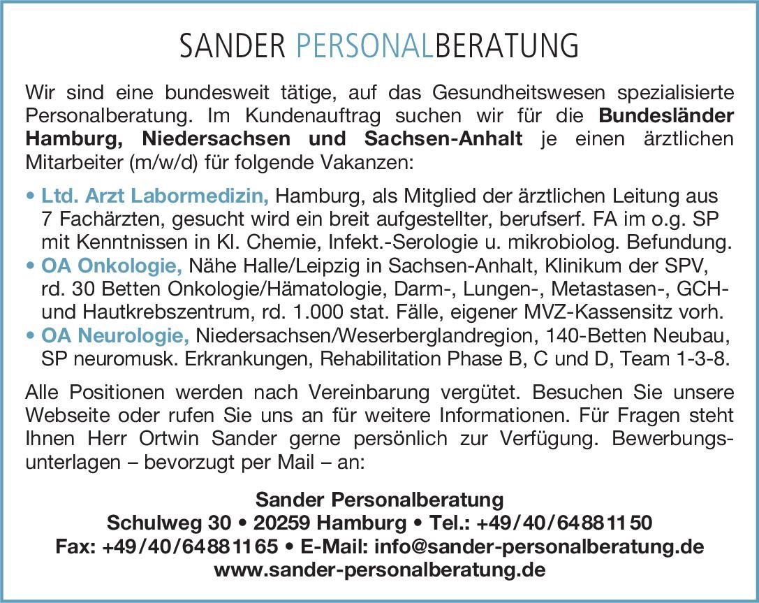 Sander Personalberatung OA Neurologie Neurologie Oberarzt