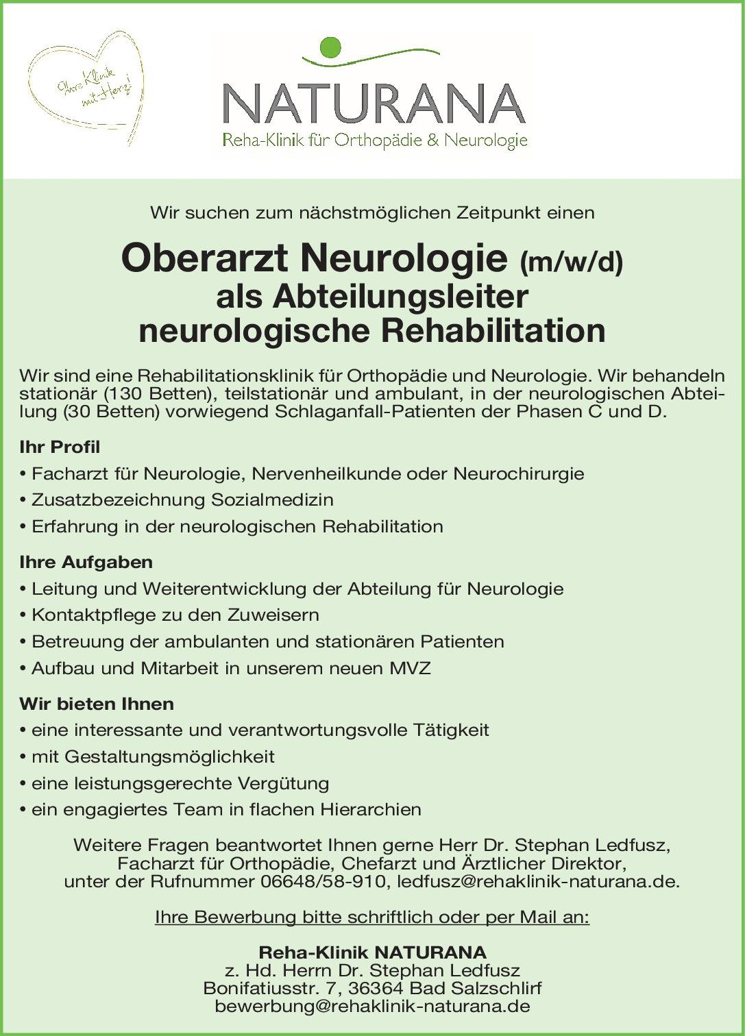 Reha-Klinik NATURANA Oberarzt Neurologie (m/w/d) als Abteilungsleiter neurologische Rehabilitation Neurologie Oberarzt