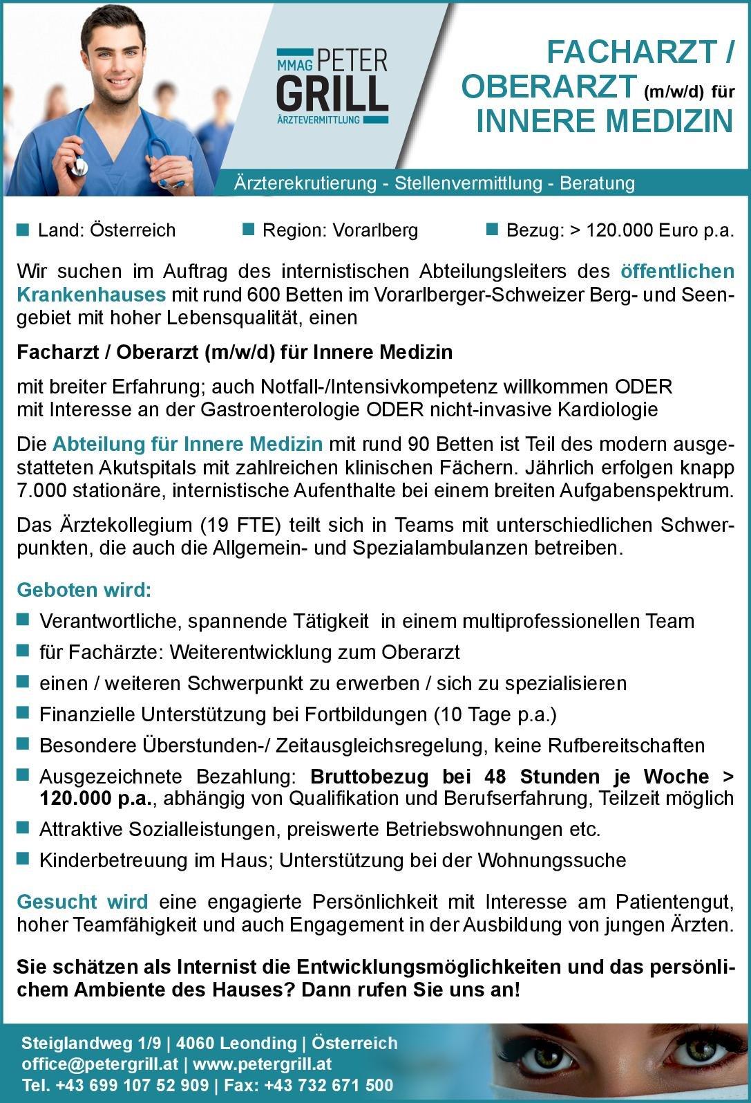 Peter Grill Ärztevermittlung Facharzt / Oberarzt (m/w/d) für Innere Medizin  Innere Medizin, Innere Medizin Arzt/Facharzt, Oberarzt