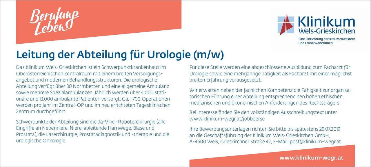 Klinikum Wels-Grieskirchen GmbH Leitung der Abteilung für Urologie (m/w) Urologie Arzt / Facharzt, Ärztl. Leiter, Chefarzt