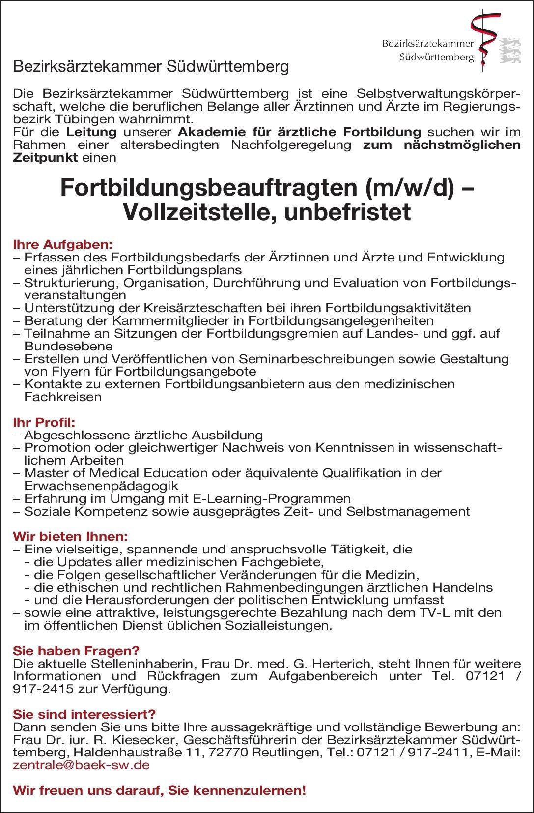 Bezirksärztekammer Südwürttemberg Fortbildungsbeauftragter (m/w/d) * ohne Gebiete Arzt / Facharzt