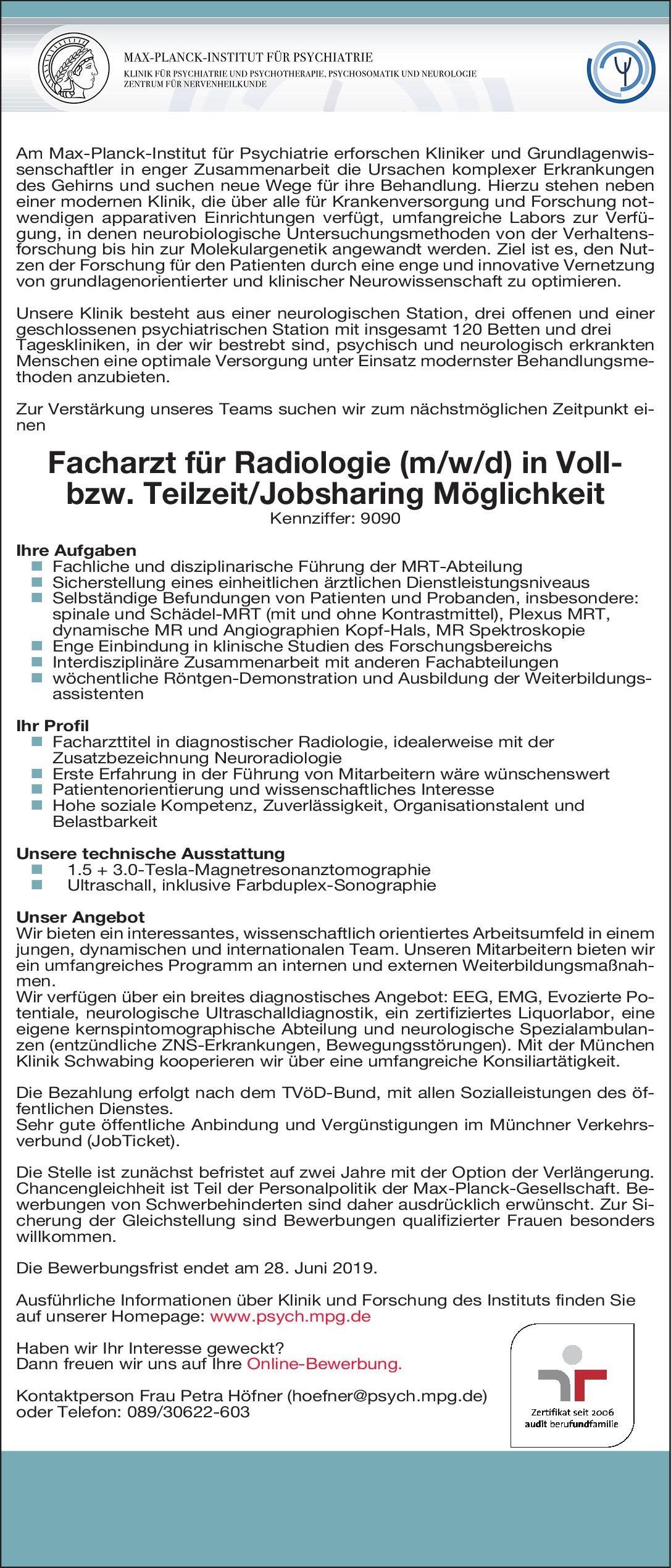 Max-Planck-Institut für Psychiatrie Facharzt für Radiologie (m/w/d)  Radiologie, Radiologie Arzt / Facharzt