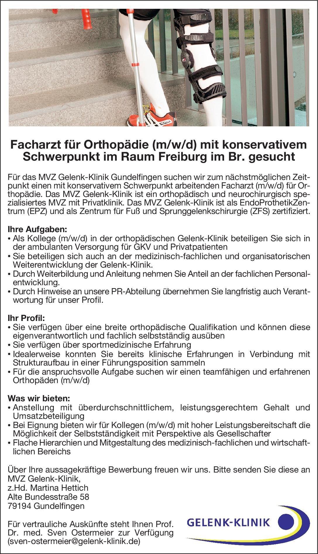 MVZ Gelenk-Klinik Gundelfingen Facharzt für Orthopädie (m/w/d) mit konservativem Schwerpunkt  Orthopädie und Unfallchirurgie, Chirurgie Arzt / Facharzt