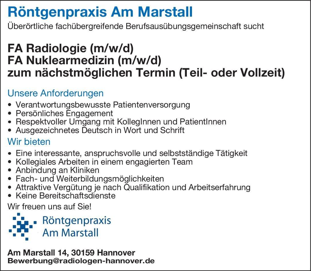 Röntgenpraxis Am Marstall FA Nuklearmedizin (m/w/d) Nuklearmedizin Arzt / Facharzt