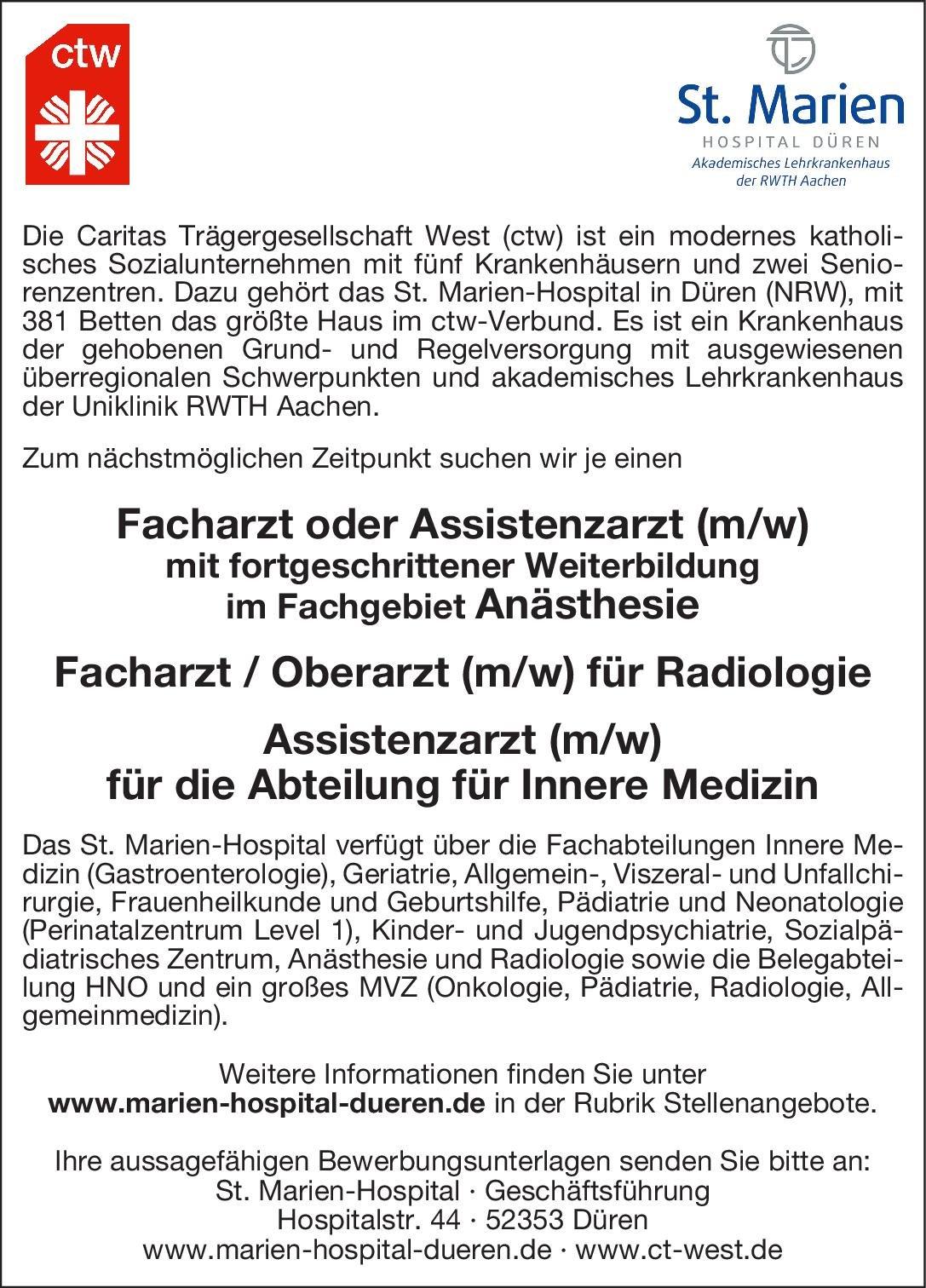 ctw St. Marien-Hospital Düren Assistenzarzt (m/w) für die Abteilung für Innere Medizin  Innere Medizin, Innere Medizin Assistenzarzt / Arzt in Weiterbildung