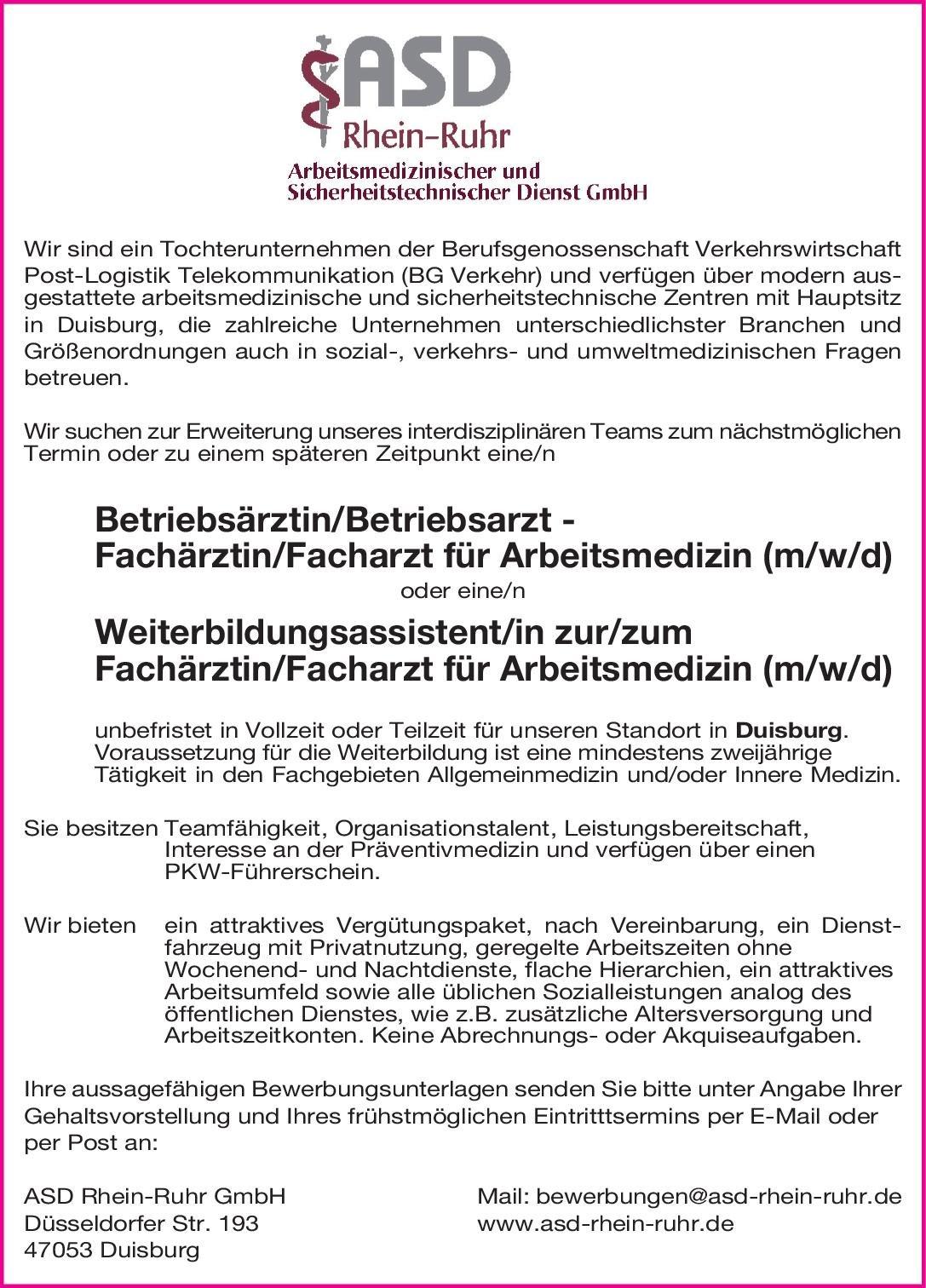 ASD Rhein-Ruhr GmbH Betriebsärztin/Betriebsarzt - Fachärztin/Facharzt für Arbeitsmedizin (m/w/d) oder Weiterbildungsassistent/in zur/zum Fachärztin/Facharzt für Arbeitsmedizin (m/w/d) Arbeitsmedizin Arzt / Facharzt, Assistenzarzt / Arzt in Weiterbildung, Betriebsarzt