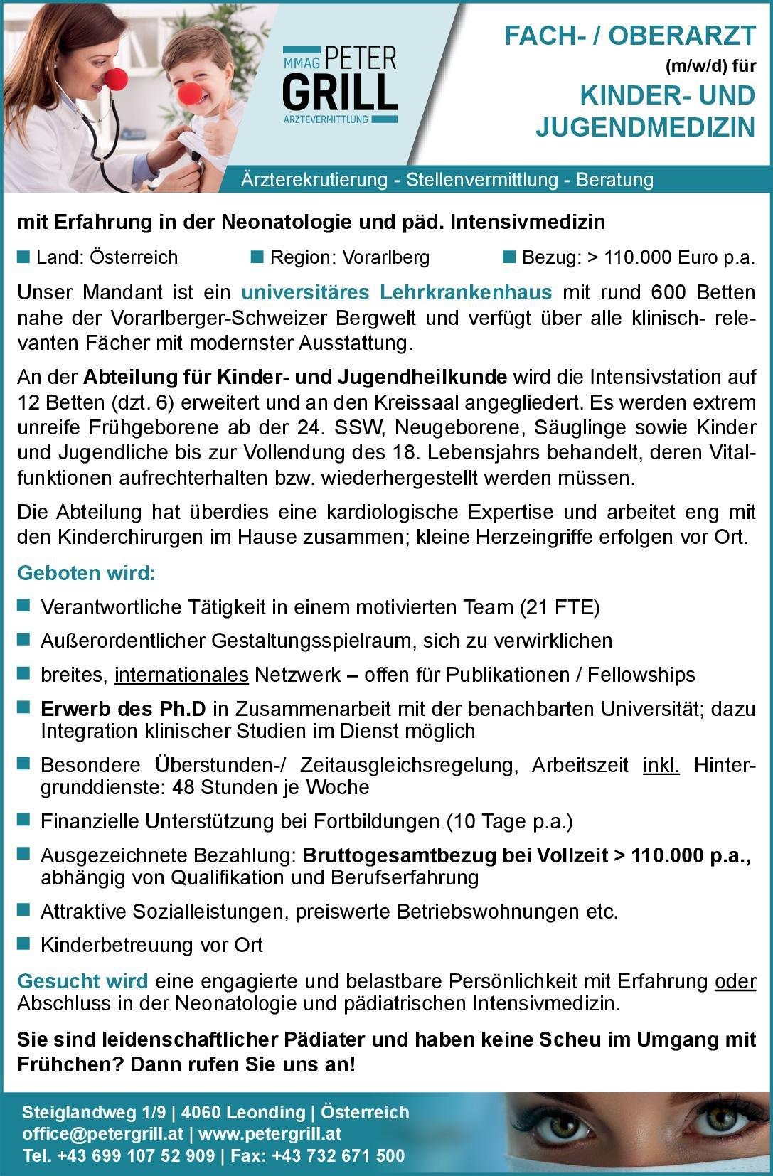 Peter Grill Ärztevermittlung Fach-/Oberarzt (m/w/d) für Kinder- und Jugendmedizin  Kinder- und Jugendmedizin, Kinder- und Jugendmedizin Oberarzt