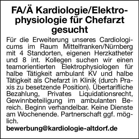 Cardiologicum Facharzt/Fachärztin Kardiologie/Elektrophysiologie  Innere Medizin und Kardiologie, Innere Medizin Chefarzt