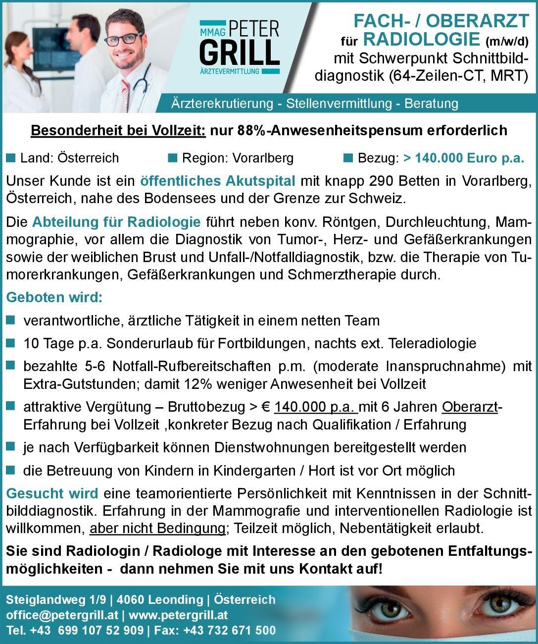 Peter Grill Ärztevermittlung Fach- / Oberarzt (m/w/d) für Radiologie  Radiologie, Radiologie Arzt / Facharzt, Oberarzt