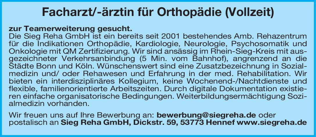 Sieg Reha GmbH Facharzt/-ärztin für Orthopädie  Orthopädie und Unfallchirurgie, Chirurgie Arzt / Facharzt