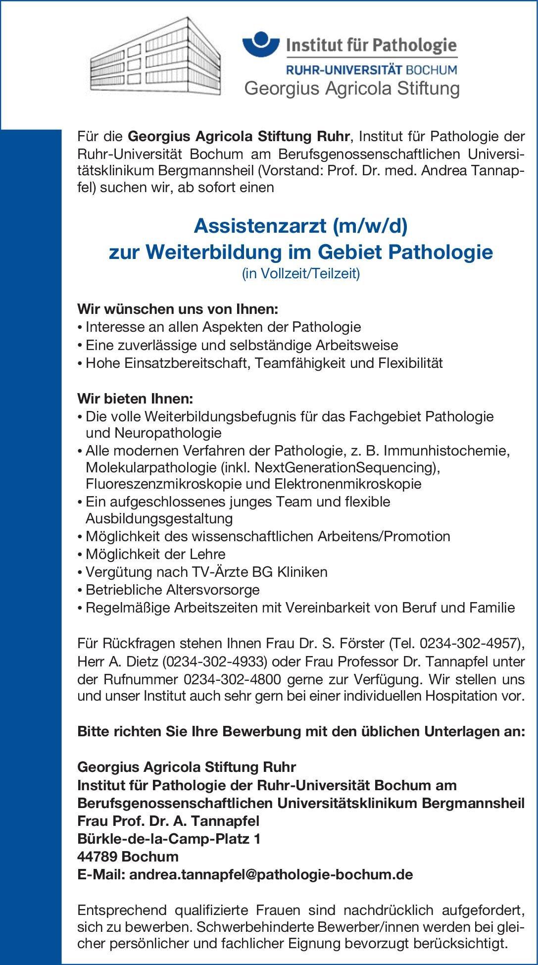 Georgius Agricola Stiftung Ruhr - Institut für Pathologie der Ruhr-Universität Bochum Assistenzarzt (m/w/d) zur Weiterbildung im Gebiet Pathologie  Pathologie Assistenzarzt / Arzt in Weiterbildung
