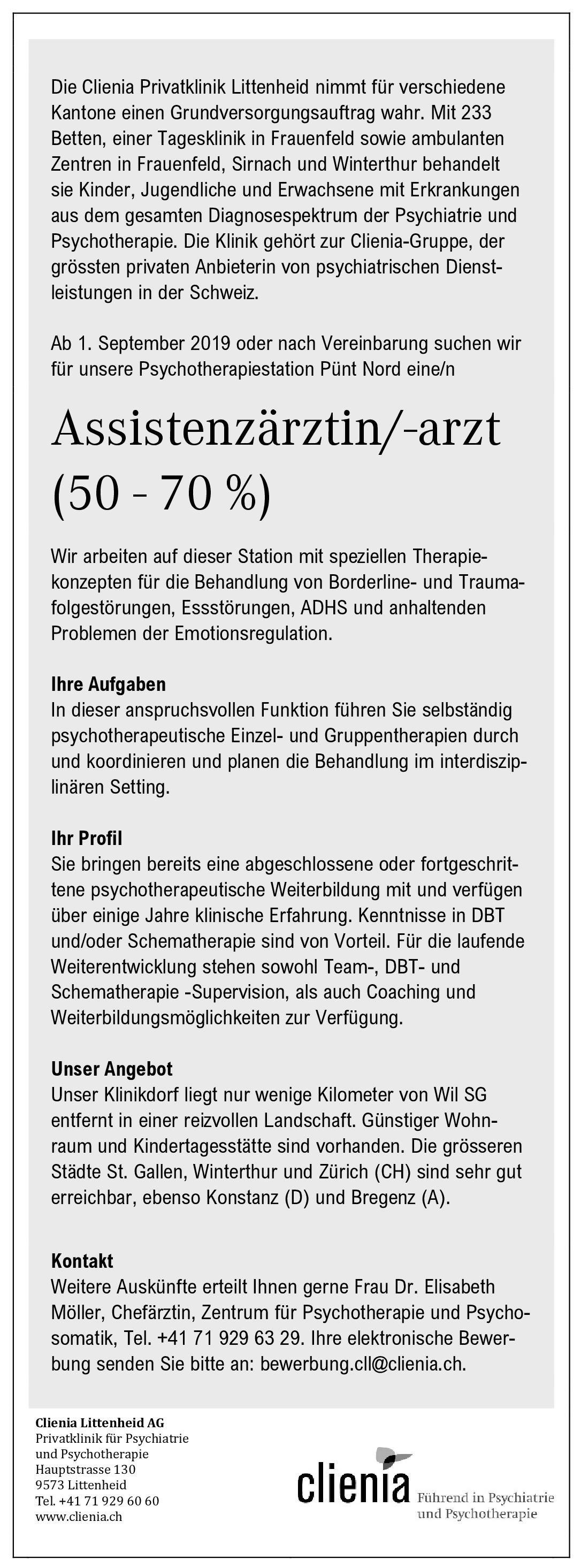 Clienia Privatklinik Littenheid Assistenzärztin/-arzt (50 - 70 %) für die Psychotherapiestation  Psychiatrie und Psychotherapie, Psychiatrie und Psychotherapie Assistenzarzt / Arzt in Weiterbildung