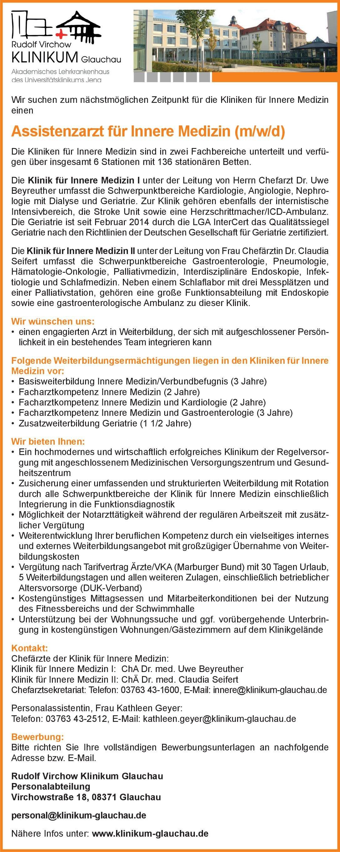 Rudolf Virchow Klinikum Glauchau Assistenzarzt für Innere Medizin (m/w/d)  Innere Medizin, Innere Medizin Assistenzarzt / Arzt in Weiterbildung