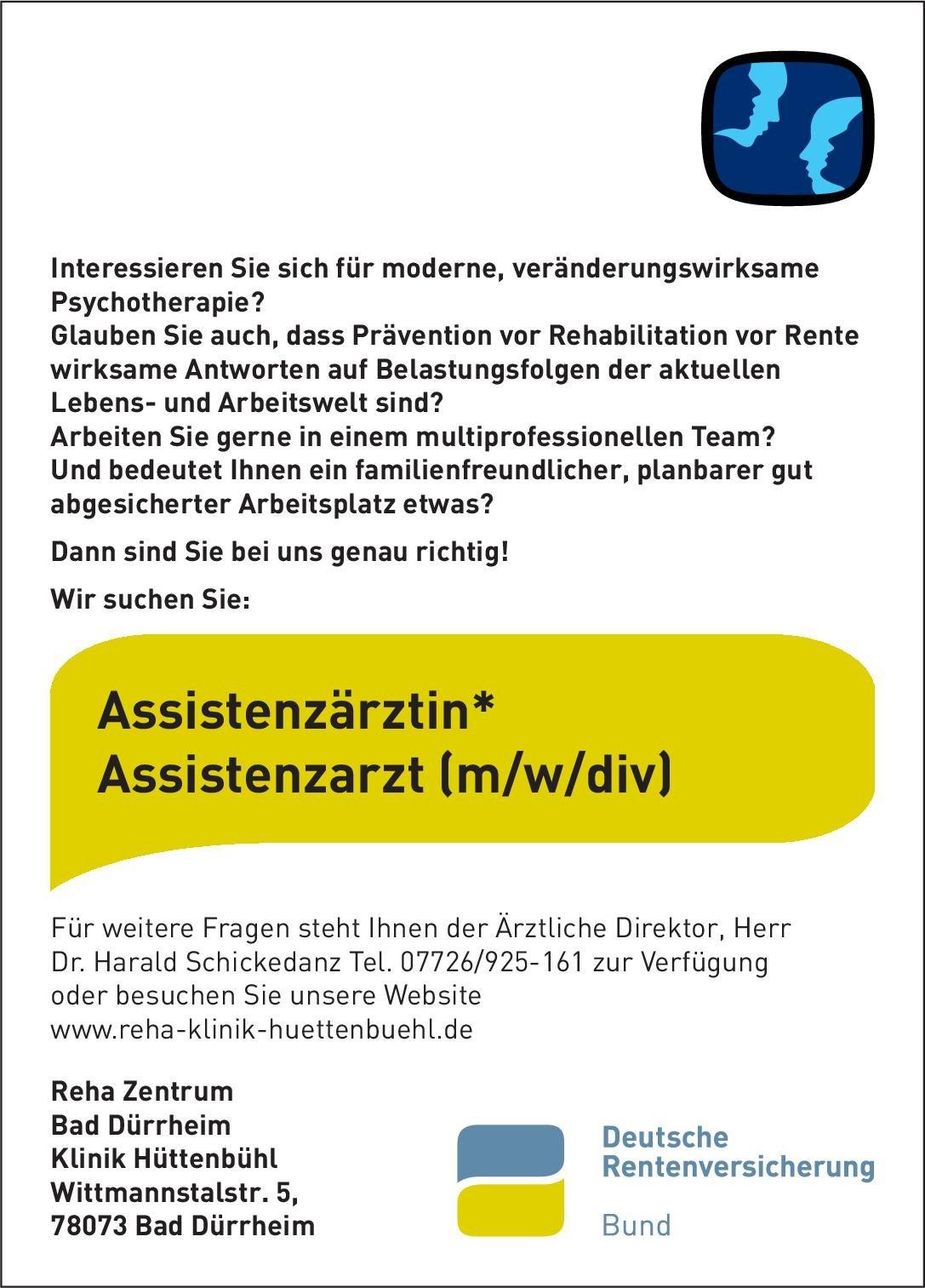 Reha Zentrum Bad Dürrheim - Klinik Hüttenbühl Assistenzärztin* Assistenzarzt (m/w/d) Psychotherapeutische Medizin Psychotherapeutische Medizin Assistenzarzt / Arzt in Weiterbildung