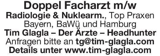 Tim Glagla – Der Ärzte - Headhunter Doppel Facharzt m/w Radiologie & Nuklearm.  Radiologie, Nuklearmedizin, Radiologie Arzt / Facharzt, Oberarzt