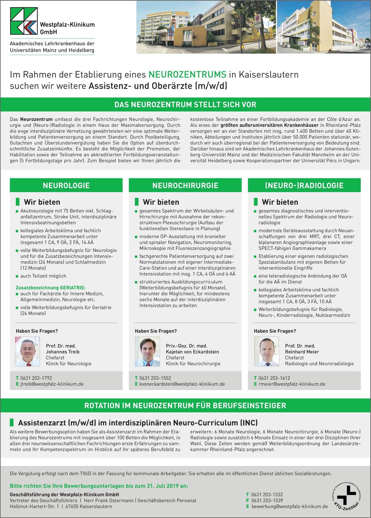 Geschäftsführung der Westpfalz-Klinikum GmbH Oberärzte (m/w/d) Neurozentrum  Neuroradiologie, Neurochirurgie, Neurologie Oberarzt