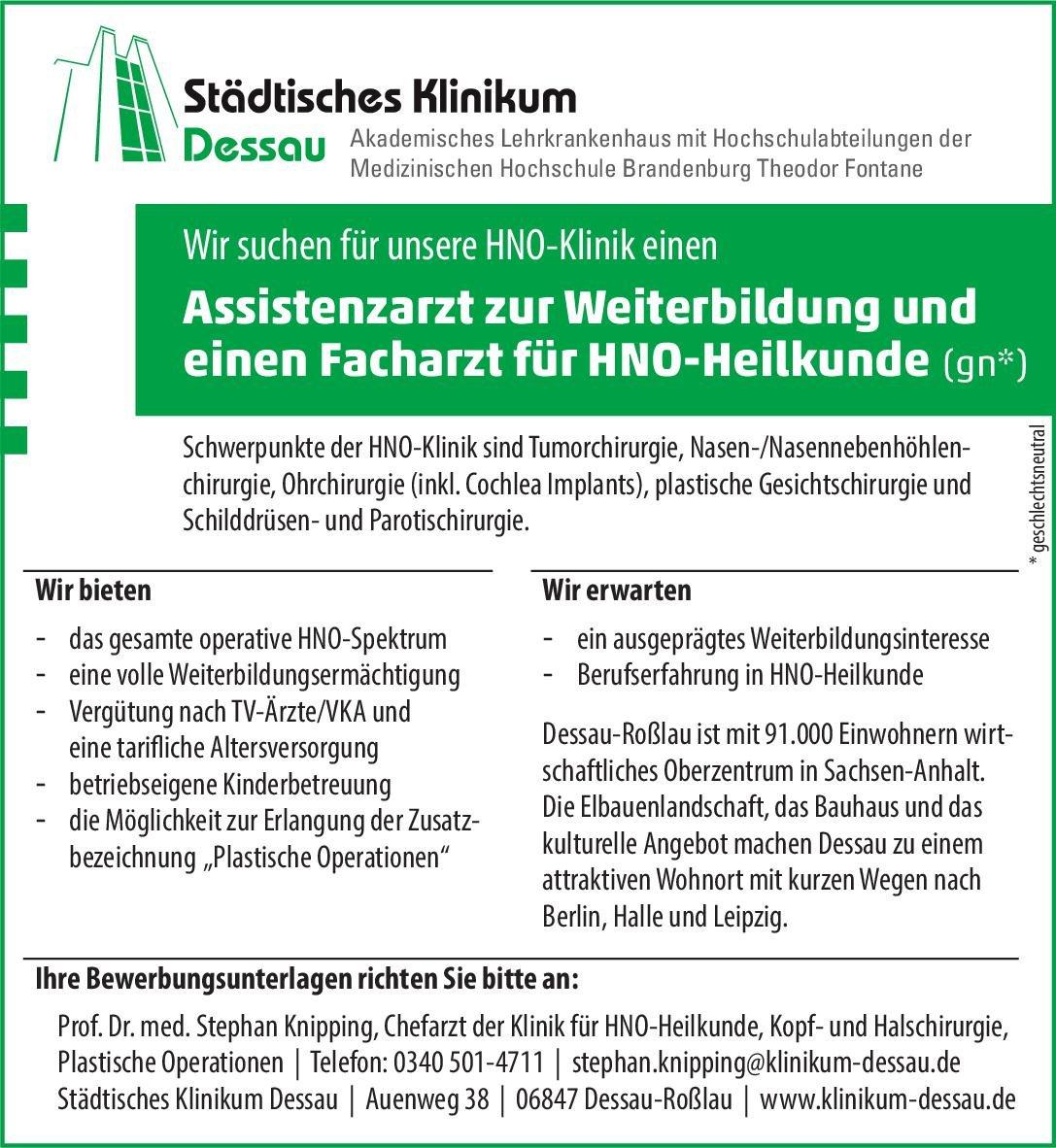 Städtisches Klinikum Dessau Assistenzarzt zur Weiterbildung (gn*) HNO  Hals-Nasen-Ohrenheilkunde, Hals-Nasen-Ohrenheilkunde Assistenzarzt / Arzt in Weiterbildung