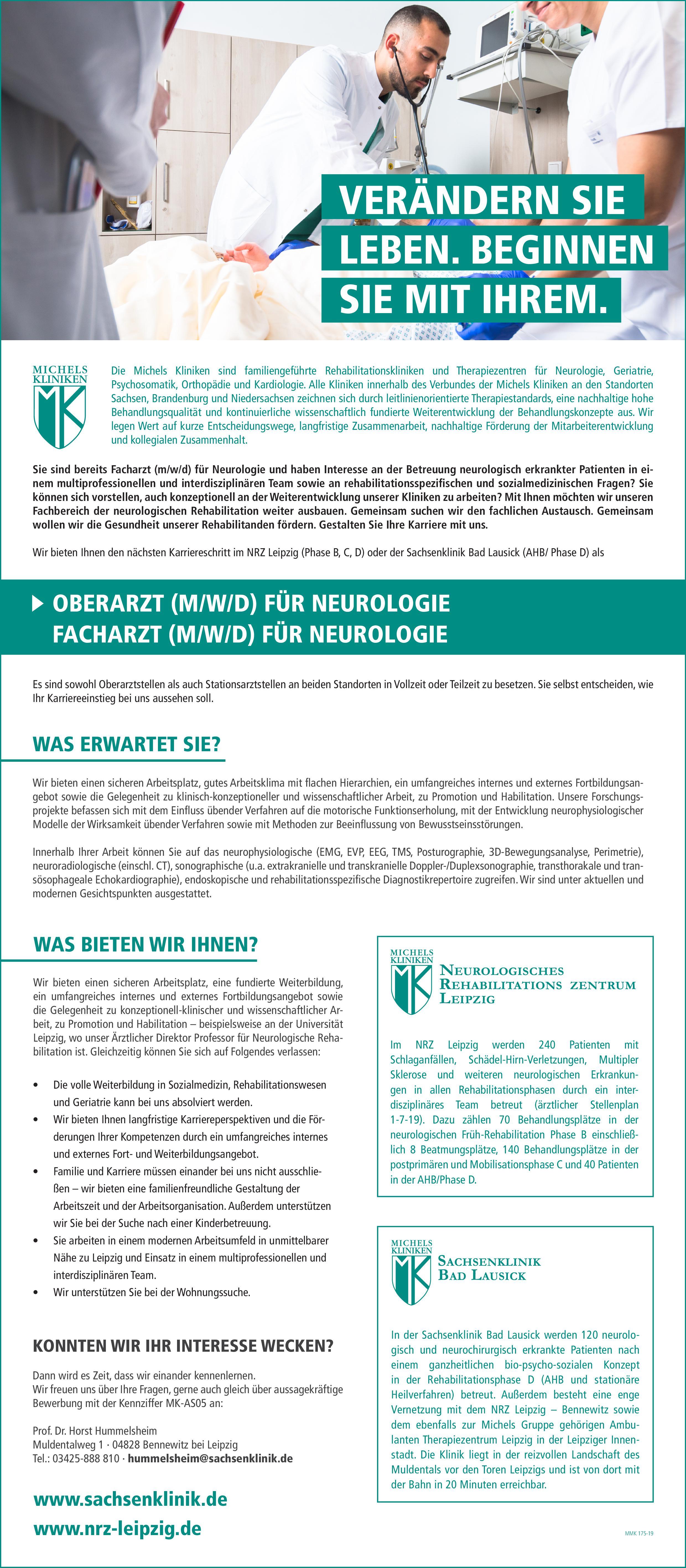 Michels Kliniken Oberarzt (m/w/d) Neurologie Neurologie Oberarzt