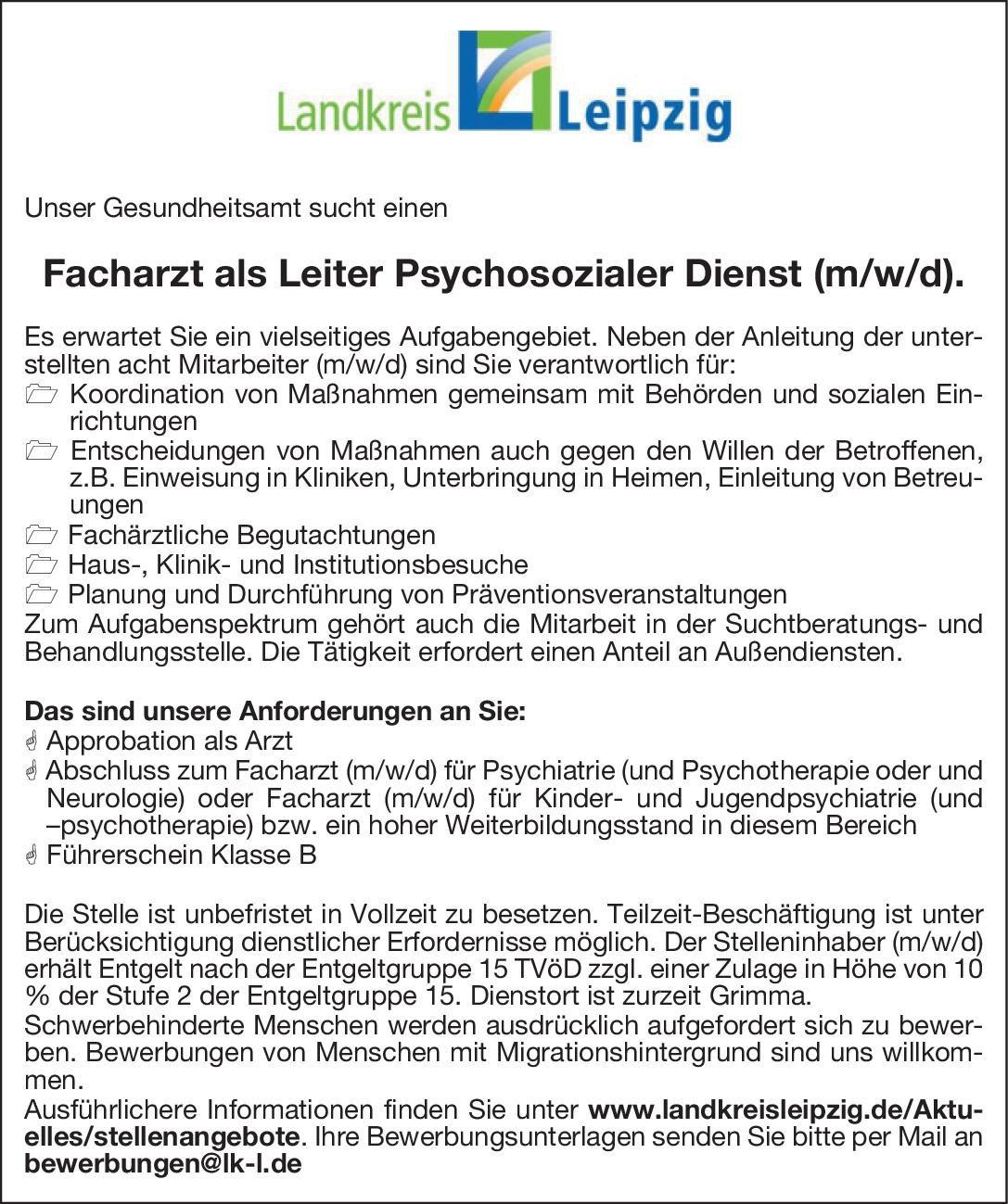 Landkreis Leipzig Facharzt als Leiter Psychosozialer Dienst (m/w/d)  Psychiatrie und Psychotherapie, Kinder- und Jugendpsychiatrie und -psychotherapie, Neurologie Arzt / Facharzt, Ärztl. Leiter