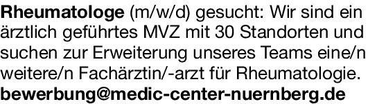MVZ Fachärztin/-arzt für Rheumatologie  Innere Medizin und Rheumatologie, Innere Medizin Arzt / Facharzt